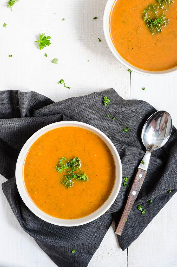 paprika, courgette, soep, paprika courgette soep, gegrilde paprika